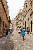 Riddersstraat in de stad van Rhodos Stock Foto
