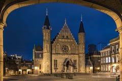 Ridderzaal, Binnenhof, nachts Stockfotografie