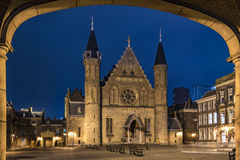 Ridderzaal, Binnenhof, at night. The Ridderzaal Knights Hall located inside the old the dutch parliament buildings Binnenhof Stock Photography