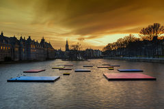 Ridderzaal, Binnenhof, at night. Pond of the Binnenhof beside the old the dutch parliament buildings Binnenhof Stock Image