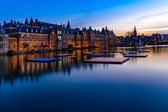 Ridderzaal, Binnenhof, at night. Pond of the Binnenhof beside the old the dutch parliament buildings Binnenhof Royalty Free Stock Photos