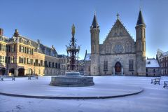 Ridderzaal in Snow Stock Photos