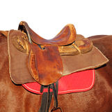 Ridding saddle on a brown horse taken closeup. Stock Image