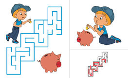 Riddle game. One cartoon baby boy play with pig Royalty Free Stock Photos