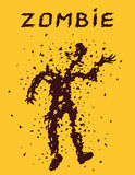 Riddled with bullets of zombies concept. Vector illustration. Scary character silhouette. The horror genre. Orange color background Royalty Free Stock Photos