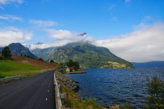 Typical Norwegian landscape. During the ride across Norway you will meet this typical view many times royalty free stock photos