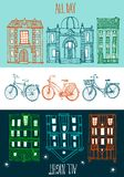 Ride all day on a bicycle. Stylish hand drawn city bicycles with old town background Stock Photography