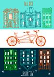 Ride all day on a bicycle. Stylish hand drawn tandem bike with old town background Royalty Free Stock Photos