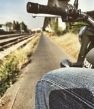Ride along railway. Rinding on my Royal Enfield Classic Stock Photos