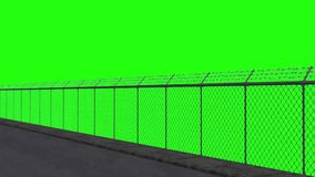 Ride along the security fence 1 - green screen