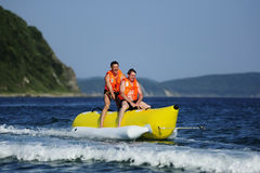 Ride a banana boat Royalty Free Stock Photos