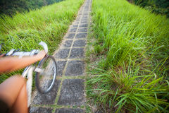 Ride bicycle. Riding bicycle in green field on path Stock Photography