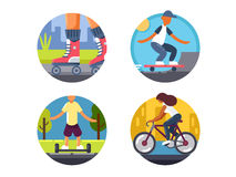 Ride bicycles or roller skate icons set. Ride bicycles or roller skate. Vector illustration. Pixel perfect icons size - 128 px Stock Images
