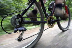 Ride bike. A man riding his mountain bike Royalty Free Stock Images