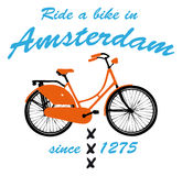 Ride a bike in Amsterdam. 2d illustration of a bicycle and the text ride a bike in Amsterdam Stock Images