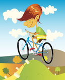 Ride a bike. Illustration of a skinny boy with red head riding a blue bike in summer. Hilly landscape under the blue sky with white clouds Royalty Free Stock Photos