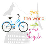 Ride a bike. Riding a bicycle around the world. Travel concept. Vector illustration Royalty Free Stock Photography