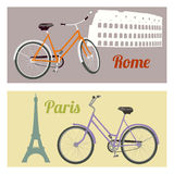 Ride a bike. Riding a bicycle in the city. Rome and Paris. Travel concept. Vector illustration Royalty Free Stock Images