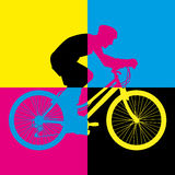 Ride bike riding bicycle color art vector Stock Images