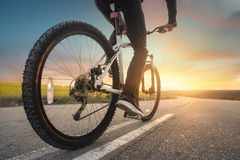Ride on bike on the road Royalty Free Stock Image