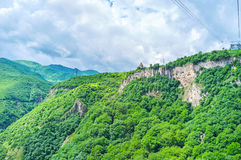 The ride on cableway to Tatev Monastery Stock Photo