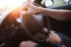 Ride in car. Man ride in sport car Royalty Free Stock Image