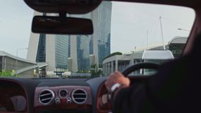 Ride in car in Singapore stock video footage