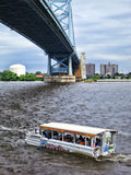 Ride the Ducks Amphibious Tourist Vehicle in River stock photography