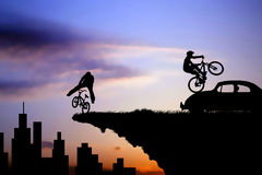 Ride on the edge city illustration Royalty Free Stock Photo