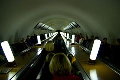 Ride on an escalator in the Moscow subway. stock image