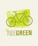Ride Green Creative Eco Vector Bicycle Illustration on Recycled Paper Background Royalty Free Stock Photos