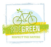 Ride Green Creative Eco Vector Bicycle Illustration on Recycled Paper Background Stock Photos