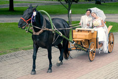 Ride and groom in carriage Royalty Free Stock Images