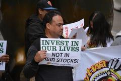 Ride hailing drivers on strike. royalty free stock photo