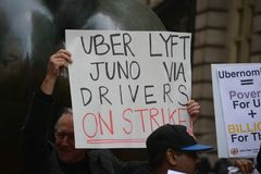 Ride hailing drivers on strike. royalty free stock photography