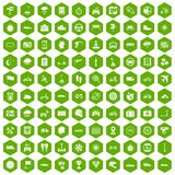 100 ride icons hexagon green. 100 ride icons set in green hexagon isolated vector illustration Royalty Free Stock Images
