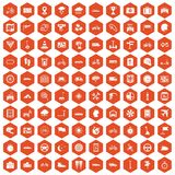100 ride icons hexagon orange. 100 ride icons set in orange hexagon isolated vector illustration Stock Images