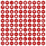 100 ride icons hexagon red. 100 ride icons set in red hexagon isolated vector illustration Stock Photo