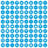 100 ride icons set blue. 100 ride icons set in blue hexagon isolated vector illustration Royalty Free Stock Photo