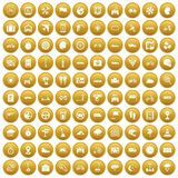 100 ride icons set gold. 100 ride icons set in gold circle isolated on white vectr illustration Stock Photos