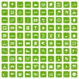 100 ride icons set grunge green. 100 ride icons set in grunge style green color isolated on white background vector illustration Royalty Free Stock Photos