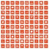 100 ride icons set grunge orange. 100 ride icons set in grunge style orange color isolated on white background vector illustration Stock Images