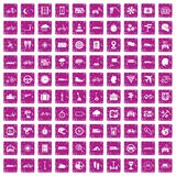 100 ride icons set grunge pink. 100 ride icons set in grunge style pink color isolated on white background vector illustration Royalty Free Stock Images