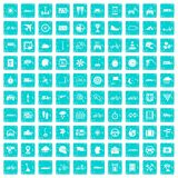 100 ride icons set grunge blue Royalty Free Stock Image
