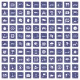 100 ride icons set grunge sapphire. 100 ride icons set in grunge style sapphire color isolated on white background vector illustration Stock Photo