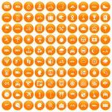 100 ride icons set orange. 100 ride icons set in orange circle isolated vector illustration stock illustration