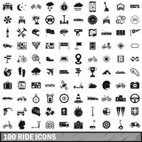 100 ride icons set, simple style. 100 ride icons set in simple style for any design vector illustration Stock Images