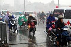 Ride motorbike in heavy rain, high wind Stock Images