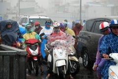 Ride motorbike in heavy rain, high wind Stock Photography