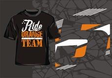 Ride orange team. Moto T-shirt design a race for maniacs stock illustration